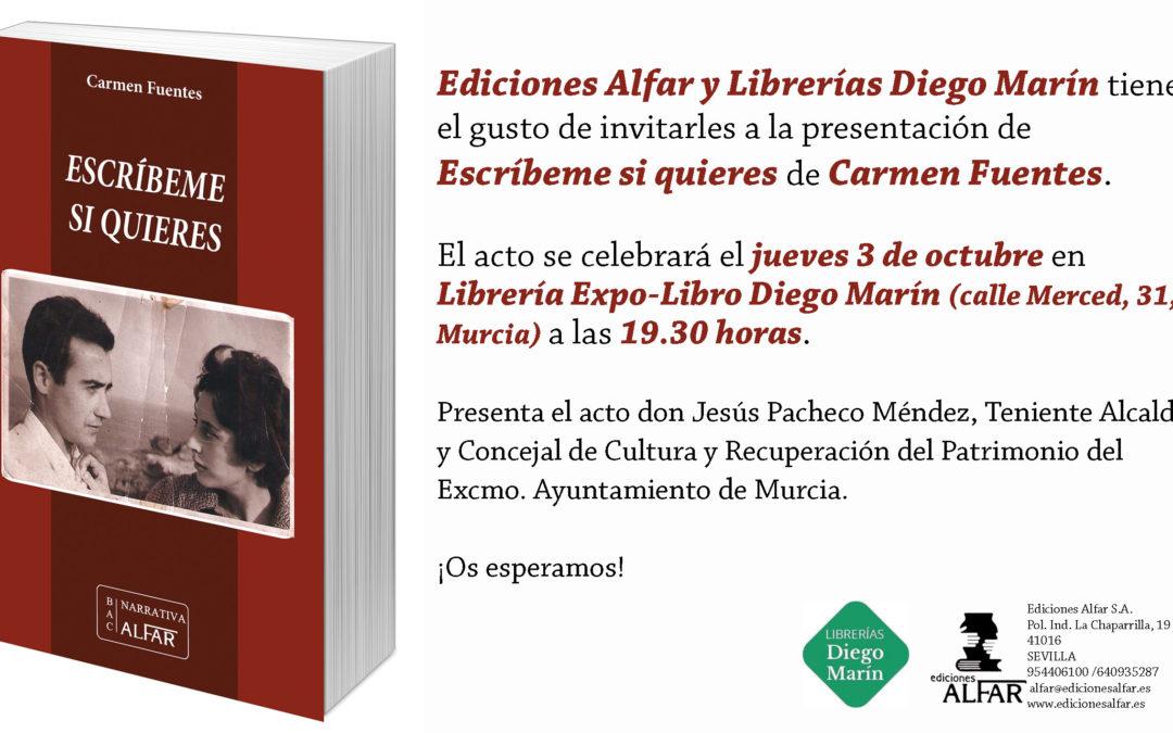 Presentación Escríbeme si quieres de Carmen Fuente en Librerías Diego Marín, Murcia