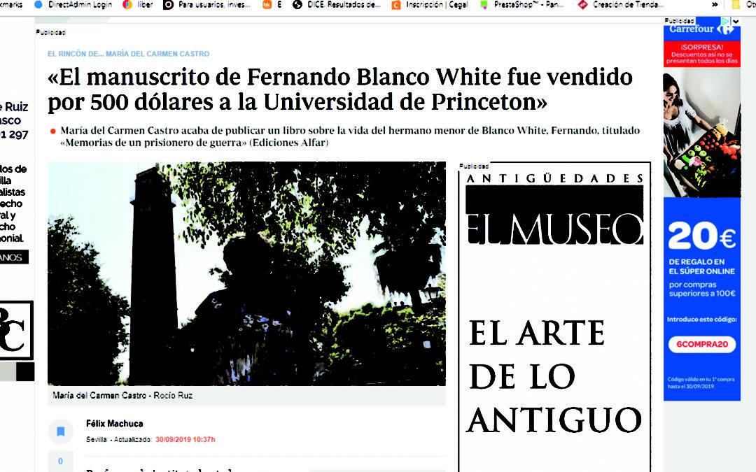 """María del Castro, traductora de """"Memorias de un prisionero de guerra. Diario de Fernando Blan White"""", entrevistada en ABC"""