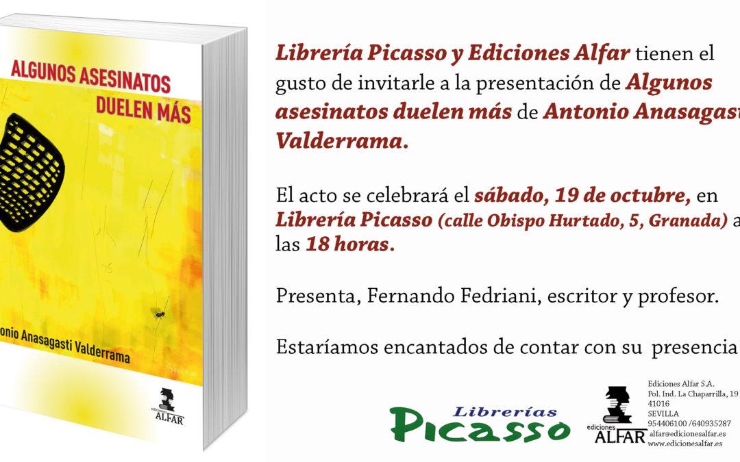 Presentación Algunos asesinatos duelen más en Librería Picasso, Granada