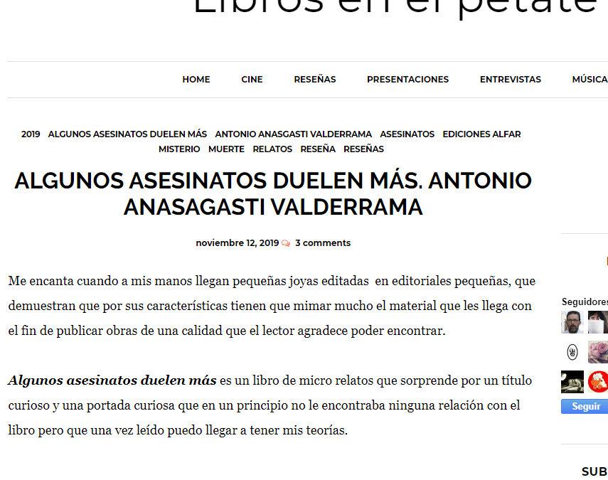 Magnífica reseña en librosenelpetate.blogspot.com de Algunos asesinatos duelen más de Antonio Anasagasti