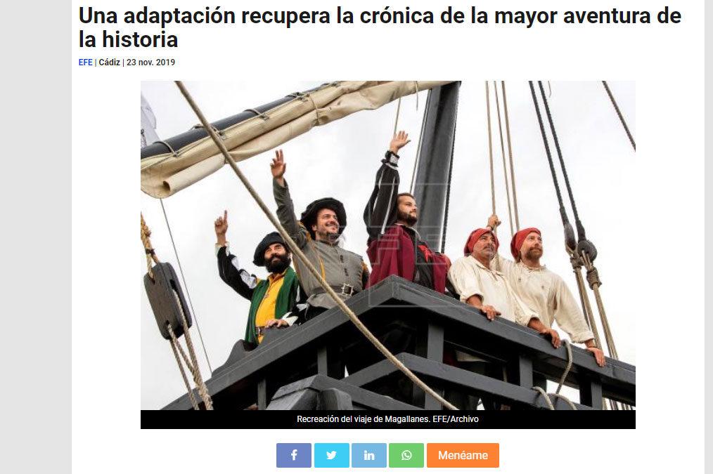 Noticia en agencia EFE Andalucía de nuestra edición adaptada de El primer viaje alrededor del mundo