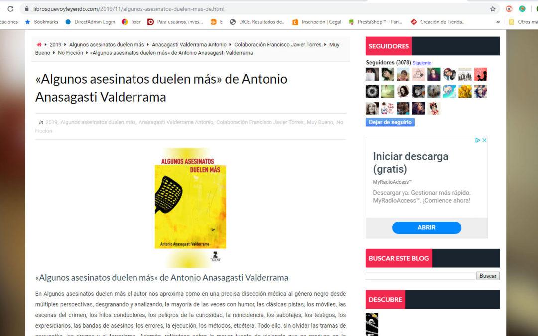 Magnífica nueva reseña de Algunos asesinatos duelen más de Antonio Anasagasti en el blogLibros que voy leyendo