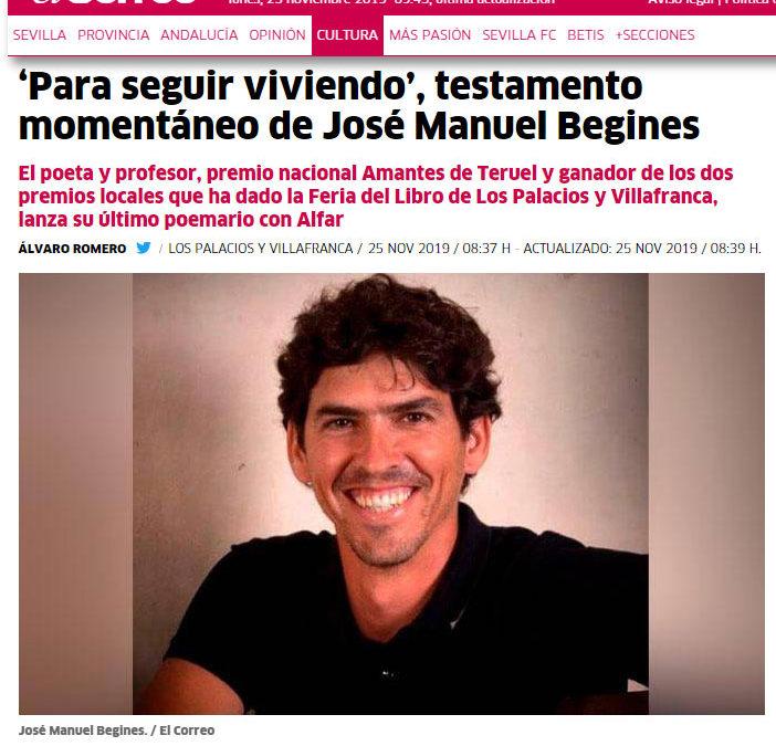 Para seguir viviendo de José Manuel Begines en El Correo de Andalucía