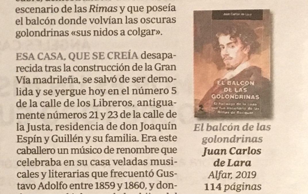 Reseña de Luis Alberto de Cuenca en ABC Cultural de El balcón de las golondrinas de Juan Carlos de Lara
