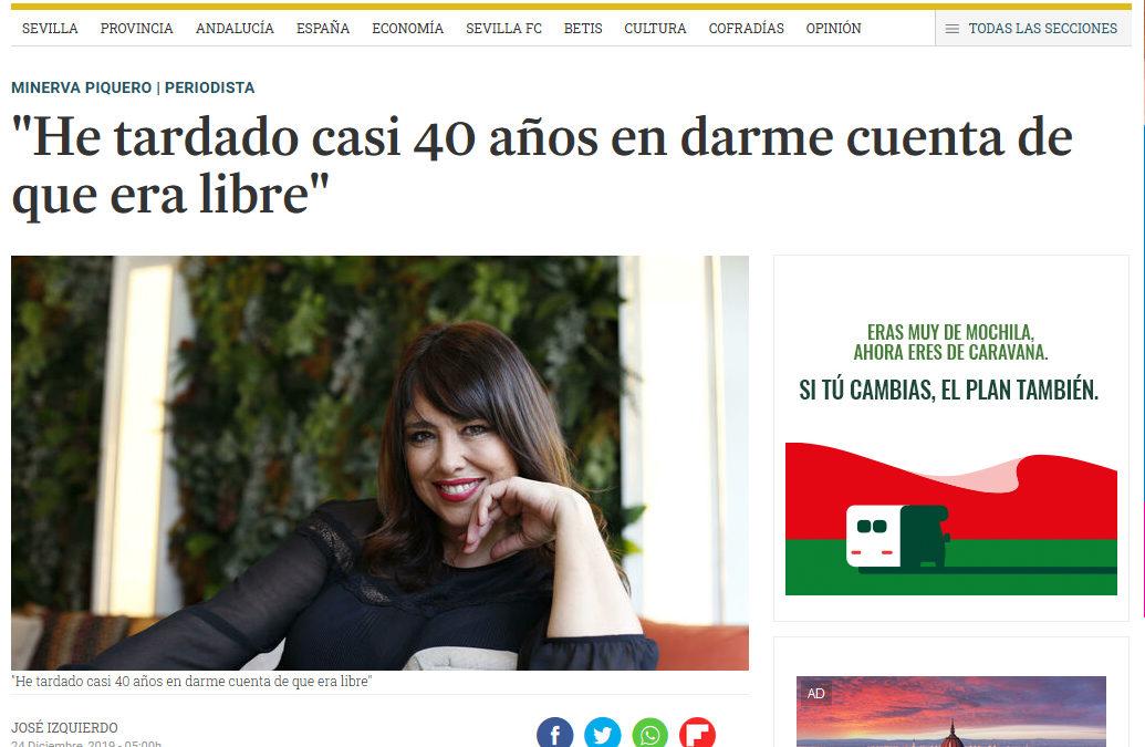 Nacida Libre de Minerva Piquero en Diario de Sevilla (y todos los periódicos, 9, del grupo de comunicación Joly)
