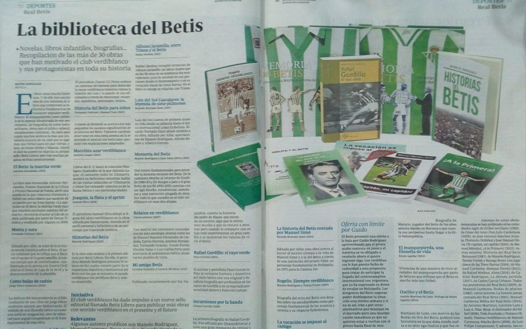 Gran parte de nuestros libros del Betis reseñados en ABC de Sevilla