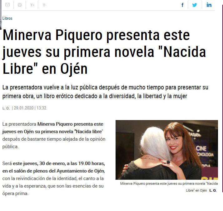 Nacida Libre de Minerva Piquero en La Opinión de Málaga