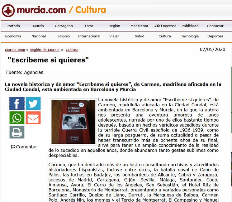 La primera novela de Carmen Fuentes, Escríbeme si quieres, reseñada en el portal www.murcia.com