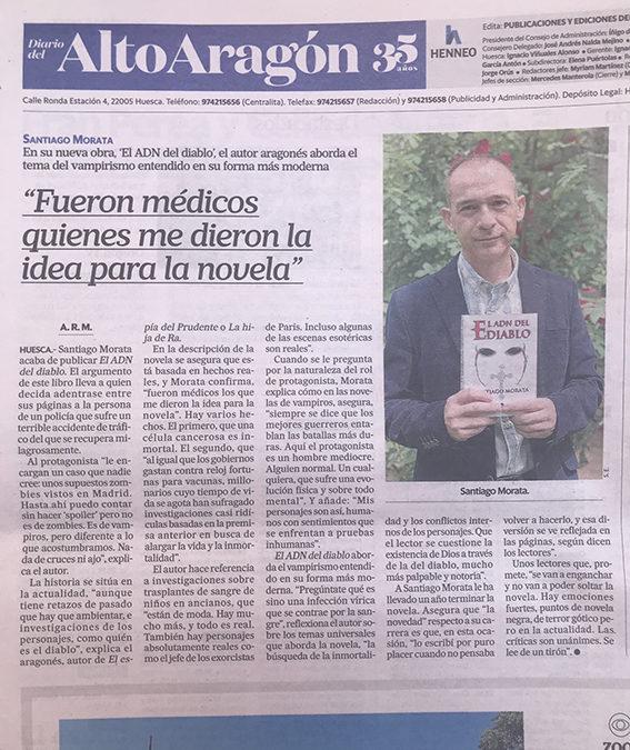 La novela de Santiago Morata, El ADN del diablo en Diario del Alto Aragón