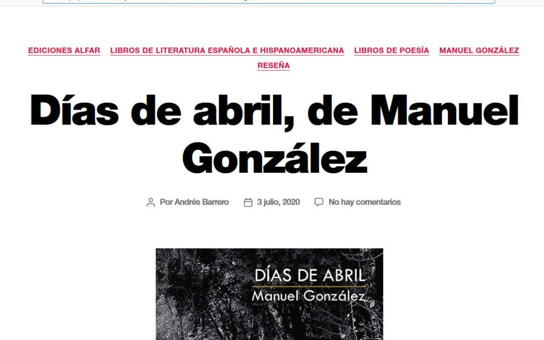 Reseña en Libros y Literatura del poemario de Manuel González, Días de abril