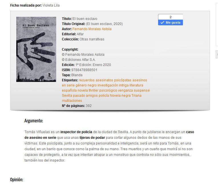 Reseña en Anika entre Libros de la novela El buen esclavo de Fernando Morales Astola