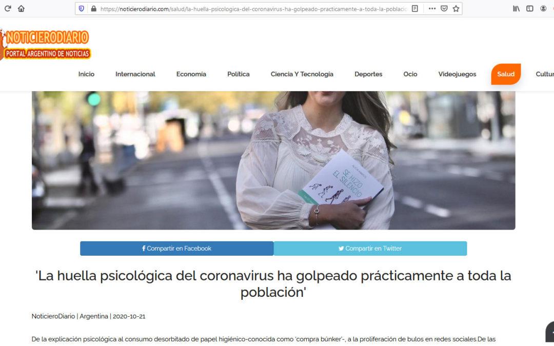 Y cruzamos el charco, en el digital argentino Noticiero Diario, Alicia Martos y su libro Se hizo el silencio.