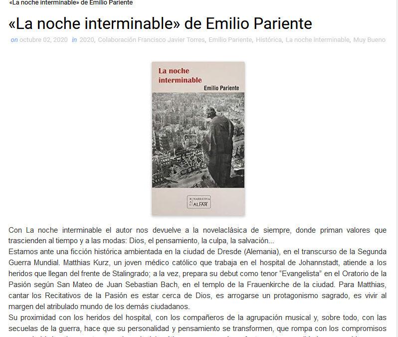 Reseña de La noche interminable de Emilio Pariente en librosquevoyleyendo.com