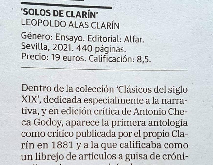 Buena reseña de Manuel Cifo en Abadol en La Verdad de Murcia de nuestros Solos de Clarín