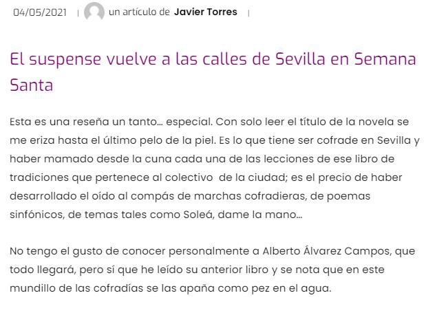 Magnífica reseña de Javier Torres en el Diario de Pasión – 'Soleá, dame la mano'