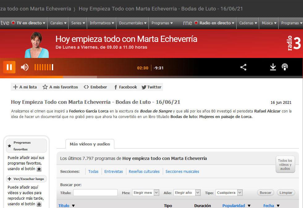 Magnífica entrevista a Rafael Alcázar en Hoy Empiezo Todo de Radio 3 con su Bodas de Luto