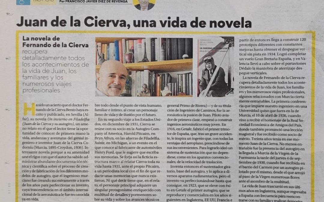 """Díaz de Revenga reseña en La Opinión de Murcia, """"Un invierno en Filadelfia"""", de Fernando de la Cierva"""