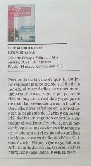 Diario La Verdad de Murcia – Toni Montesinos y 'El Realismo Ficticio'.